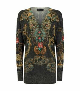 V-Neck Paisley Sweater