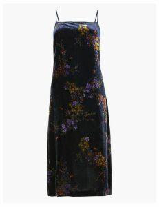 Per Una Velvet Floral Print Slip Midi Dress