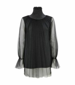 Tulle-Overlay Rollneck Top
