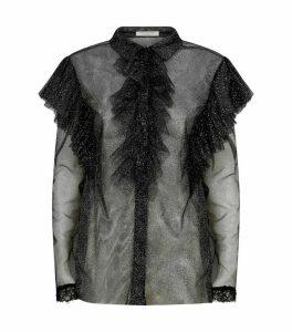 Sheer Mesh Glitter Shirt
