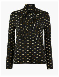 M&S Collection Butterfly Print Bow Detail Top