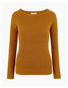 Per Una Ribbed Button Shoulder Jumper