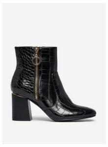 Womens Wide Fit Black 'Alive' Croc Boots, Black