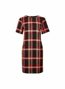 Womens Red And Pink Check Shift Dress, Red
