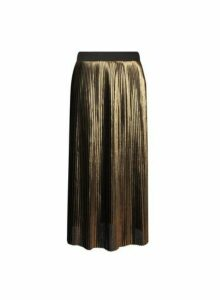 Womens **Gold Pleated Skirt, Gold