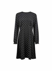 Womens Black Empire Geometric Print Pleat Dress, Black