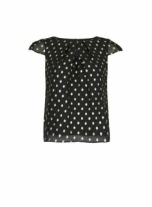 Womens **Billie & Blossom Petite Black And Gold Spot Shell Top, Black