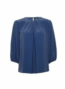 Womens Navy 3/4 Sleeve Top- Blue, Blue