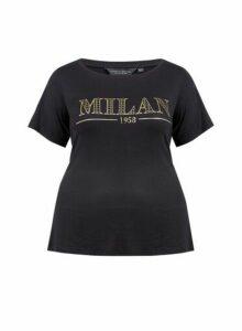 Womens **Dp Curve Black 'Milan' Motif Tee, Black