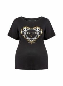 Womens **Dp Curve Black 'Amour' Motif Tee, Black
