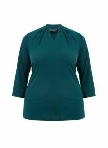 Womens **Dp Curve Green Pleat Neck Top, Green