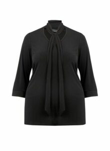 Womens Dp Curve Black Pussybow Top, Black
