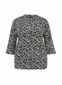 Womens **Dp Curve Black Floral Print Jersey Shirt, Black
