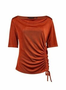 Womens **Rust Ruched Side Top- Red, Red