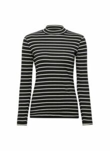 Womens Black And Ecru Stripe Print Funnel Neck Cotton T-Shirt, Black