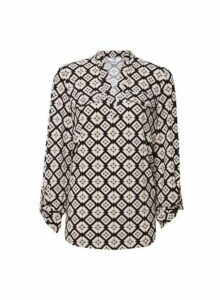 Womens **Tall White Geometric Print Jersey Shirt- White, White