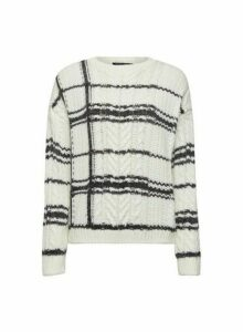 Womens Cream Check Cable Knitted Jumper, Cream