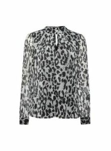 Womens **Billie & Blossom Silver Leopard Print Mesh Blouse- Silver, Silver