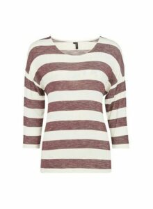 Womens **Vero Moda Multi Colour Stripe Print Top- Red, Red