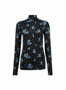 Womens Black Polka Dot And Floral Print High Neck Top- Black, Black