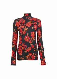 Womens Red Floral Print High Neck Top, Red