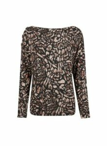 Womens Brown Printed Brushed Jumper- Brown, Brown