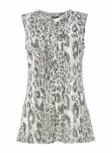 Womens *Roman Originals Grey Animal Print Top- Grey, Grey