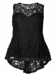 Womens *Izabel London Curve Black Paisley Lace Top, Black