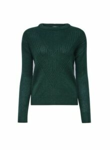 Womens Petite Green Ribbed Stitch Jumper- Green, Green