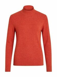Womens **Vila Red High Neck Knit Jumper, Red