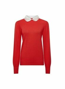 Womens Red Embellished Collar 2-In-1 Jumper, Red