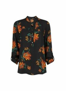 Womens Black And Orange Floral Print Roll Sleeve Top- Multi Colour, Multi Colour