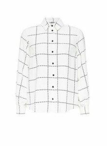 Womens Petite Ivory Grid Check Print Longline Shirt- White, White