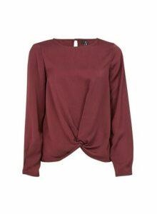 Womens **Vero Moda Wine Wrap Front Top- Red, Red