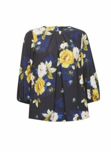 Womens Black And Cobalt Floral Print Top, Black