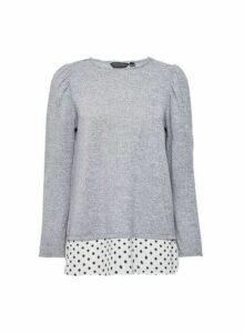 Womens Grey Spot Underlay 2-In-1 Long Sleeve Top, Grey