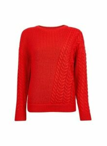 Womens Red Diagonal Cable Jumper, Red