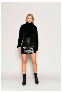 Womens **Faux Fur Sweatshirt By Glamorous - Black, Black
