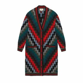 Multicolour wool oversize knit coat