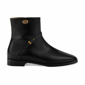 Leather ankle boot with Double G