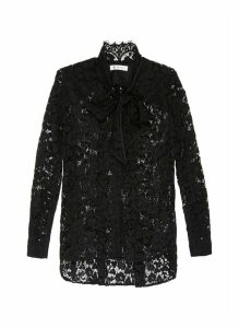 Floral lace neck tie shirt