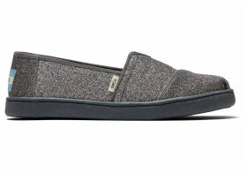 TOMS Grey Iridescent Glitter Youth Classics Slip-On Shoes - Size UK13