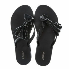 Zaxy Womens Fresh Seduce Bow Flip Flops Size 4 in Black