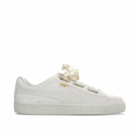 Puma Womens Suede Heart Satin II Trainers Size 7.5 in Cream