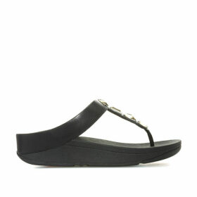 Fit Flop Womens Roka Leather Toe Thong Sandals Size 8 in Black