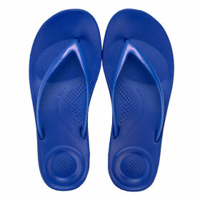 Fit Flop Womens iQushion Pearlised Ergonomic Flip Flops Size 4 in Blue