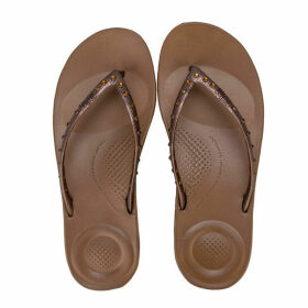 Fit Flop Womens iQushion Crystal Ergonomic Flip Flops Size 4 in Brown