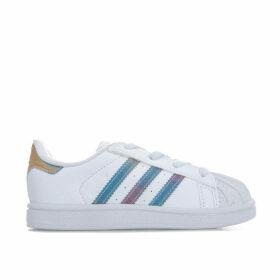 adidas Originals Infant Iridescent Superstar Trainers Size 3 in White