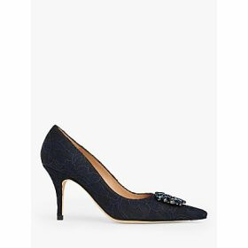 L.K.Bennett Harmony Suede Jewelled Court Shoes, Black