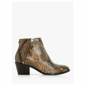 Dune Paramount Block Heel Leather Ankle Boots